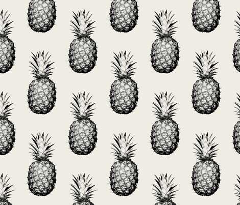 Pineapples black and cream large wallpaper