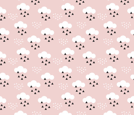 Cute Cartoon Elephant Wallpaper Geometric Pastel Sleepy Baby Pink Sky Cloud Pattern Fabric