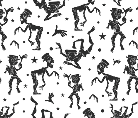 Black and White Dancing Zombies Seamless Pattern. Waving