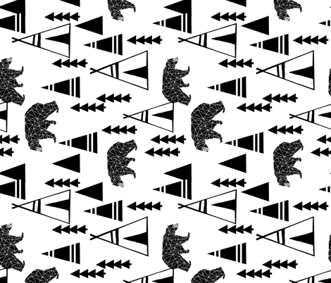 teepee // black and white tip bear forest woodland fabric