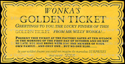 Dean's Golden Tickets On Black Fabric Midcoast