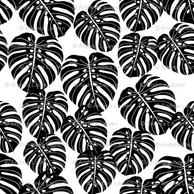 monstera leaf fabric  palm print tropical palm black and