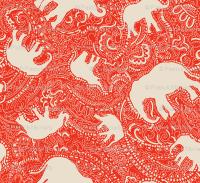 Paisley-Power-ivory-orange-red-elephant-print-fabric ...