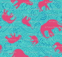 Paisley-Power-turquoise-red-elephant-print-fabric-design ...