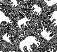 Elephant paisley SMALL black and white wallpaper ...