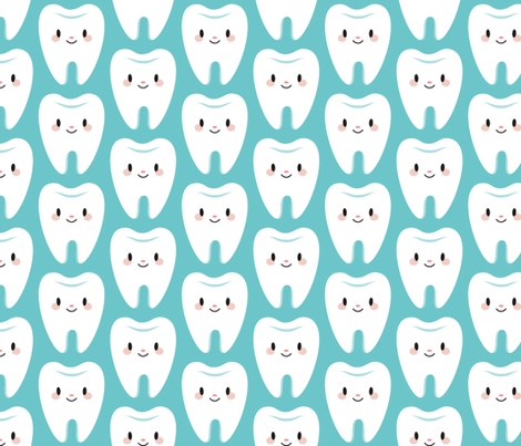 Cute molar teeth blue fabric petitspixels Spoonflower