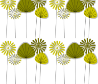 Mid-Century Flowers Avocado fabric - gigirn46@aim_com ...
