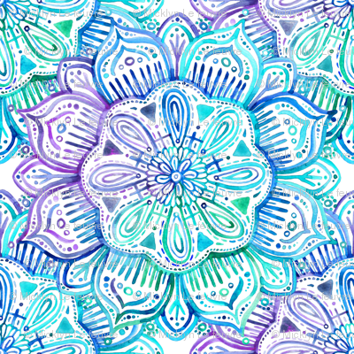 Cute But Psycho Iphone Wallpaper Iridescent Aqua And Purple Watercolor Mandala Fabric