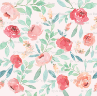 Large Watercolor Floral on Pink wallpaper - taylor_bates ...