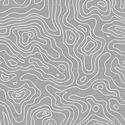 Gray Grey and White Stripes Wave Elevation Topographic