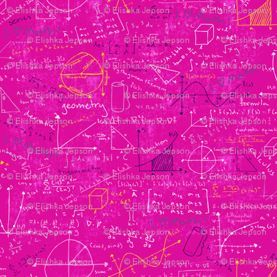 Math Lessons Pink fabric  robyriker  Spoonflower