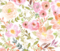 Watercolor Pastel Floral fabric - willowlanetextiles ...