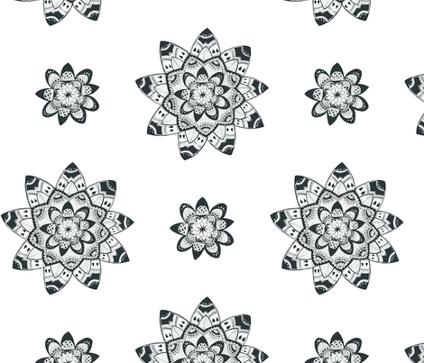 Mandala black and white seamless pattern fabric