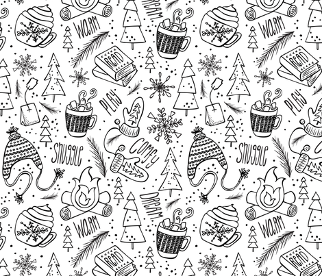 Snow Day Hooray! Coloring Book Style fabric