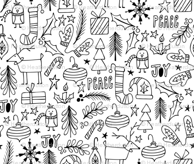 Peace & Joy Christmas Coloring Book Style fabric