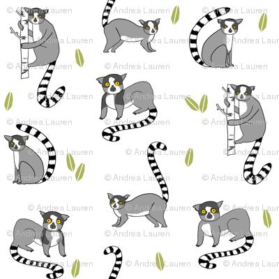 lemur // animal nature jungle lemurs fabric black and
