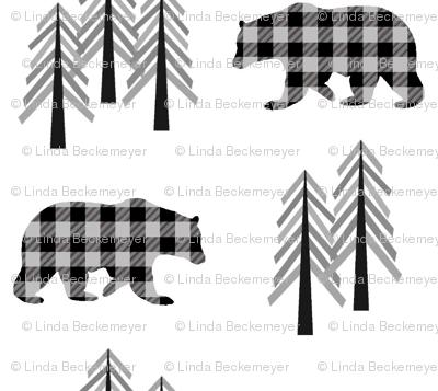 Black + Gray Plaid Bears & Trees