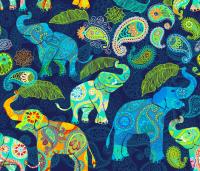 Asian Elephant Paisley Raindrops wallpaper ...