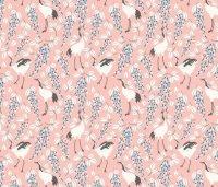 Cranes Pink_Japanese Garden_The Tiny garden fabric - the ...