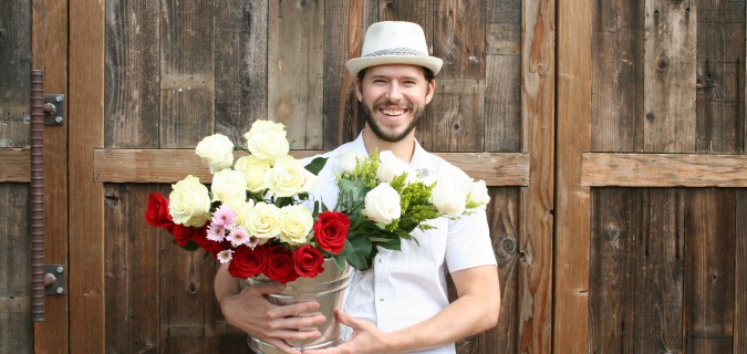 john tabis with fresh flowers