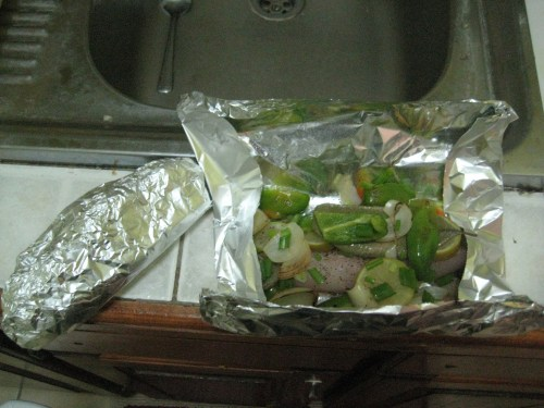 Fish in the pouches ready for the oven!