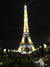 Watching the Eiffel Tower light up!