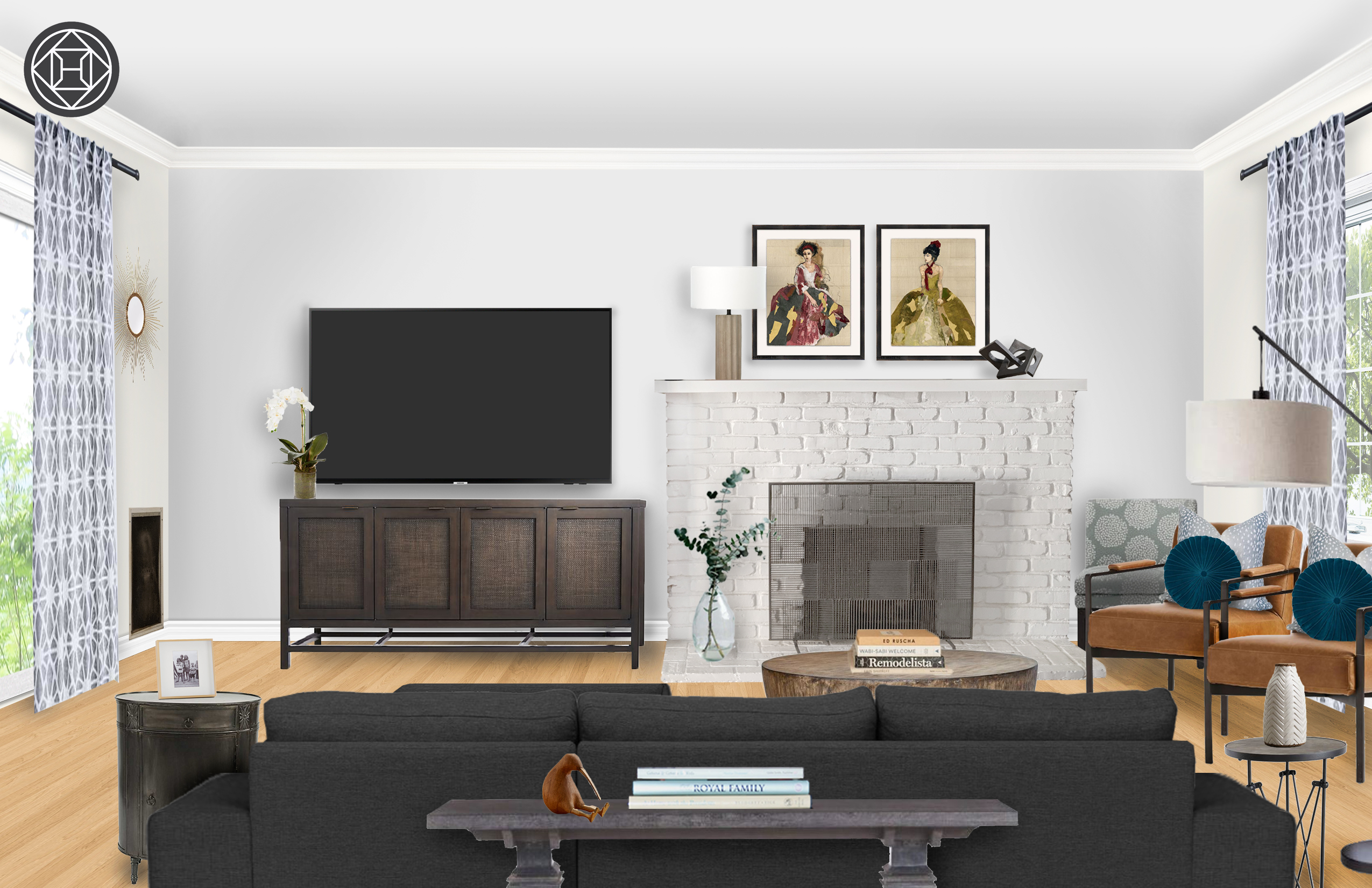 Eclectic Industrial Transitional Living Room Design By