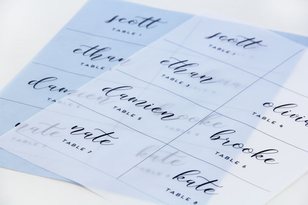 print vellum place cards - Printed Place Cards
