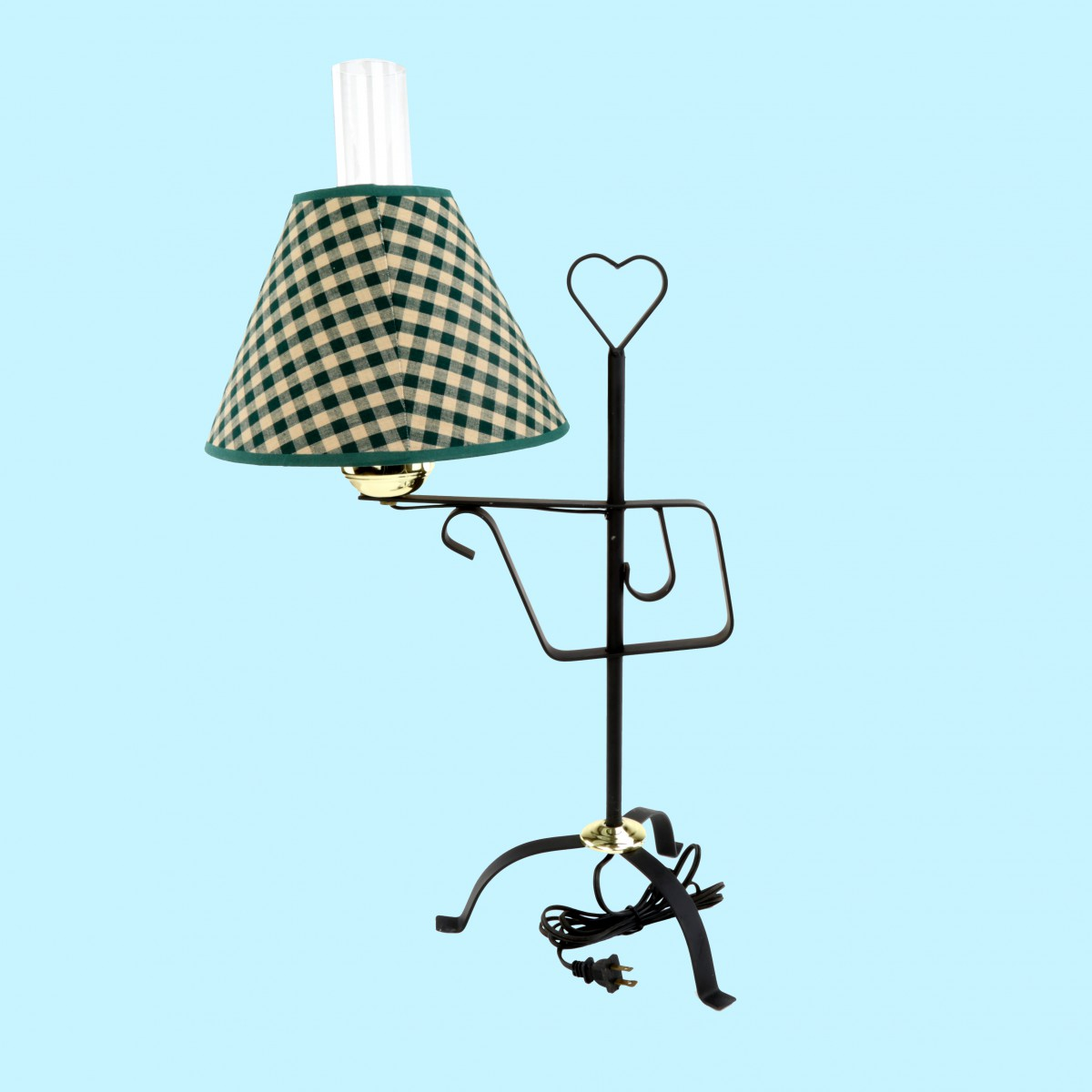 """Table Lamp Black Wrought Iron Table Lamp Green Shade 24.5""""H"""