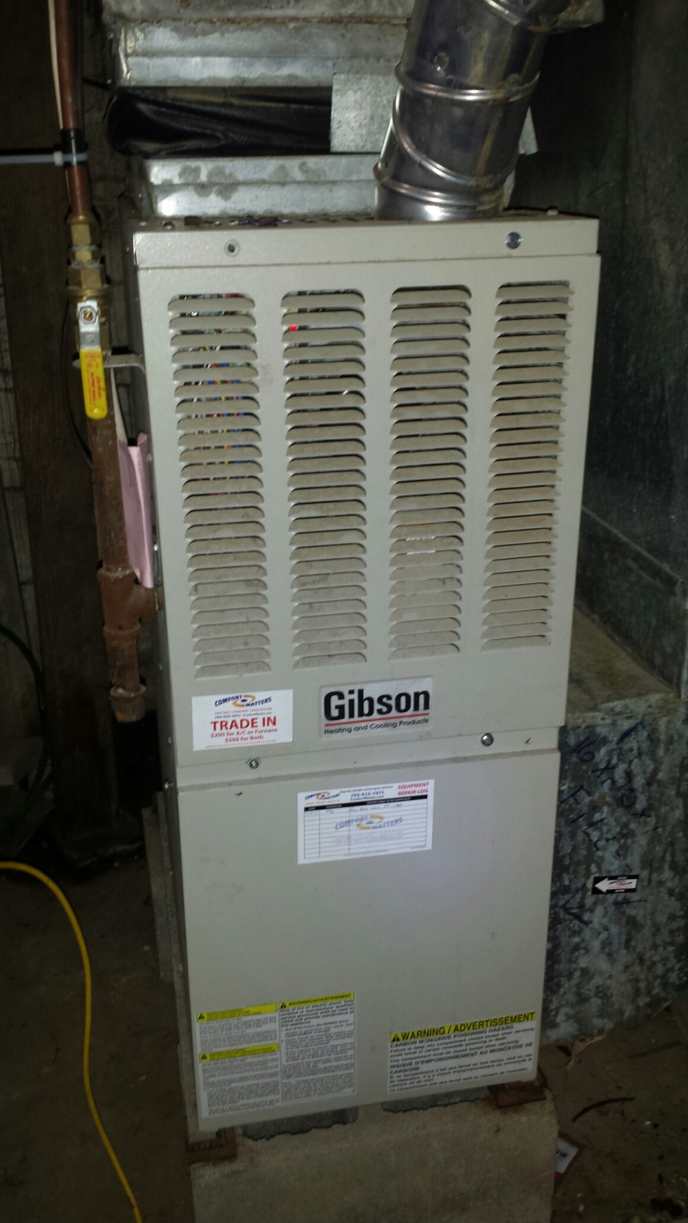medium resolution of ran new wiring from thermostat to gibson furnace