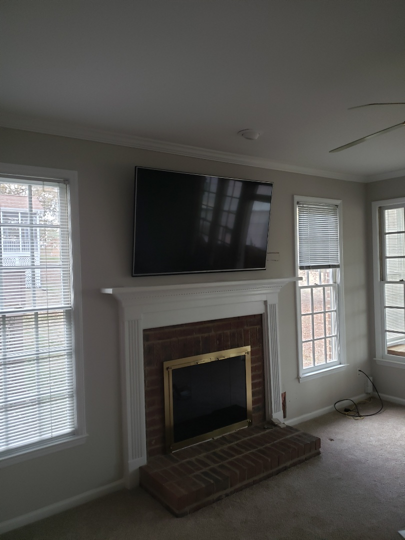 Raleigh, NC - I had to mount a TV above fireplace and add a receptacle for power