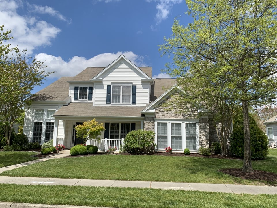 Easton, MD - Measuring roof for shingle roof replacement with Timberline HD Weathered Wood