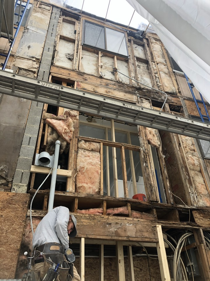 Odenton, MD - Replacing rotten framing on apartment wall and floor