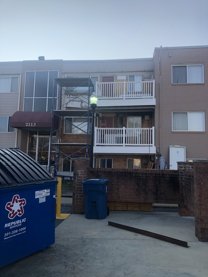 Forest Heights, MD - Replacing rotten wood on exterior wall of apartment complex