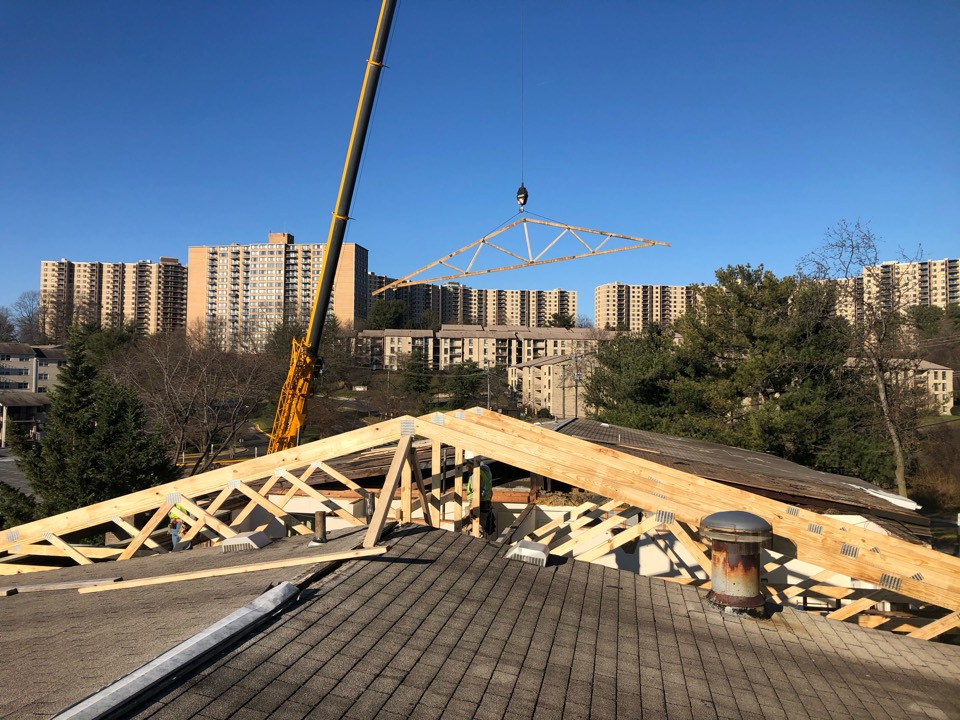 Alexandria, VA - Replacing the roof structure due to the fire down below