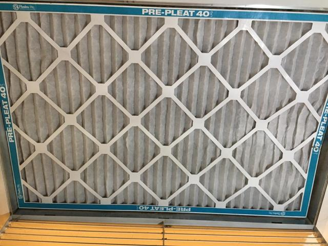 Lakeside, CA - Changed the air filter. Filter was sucked into return duct, removed old dirty filter and replaced it with a pleated filter.
