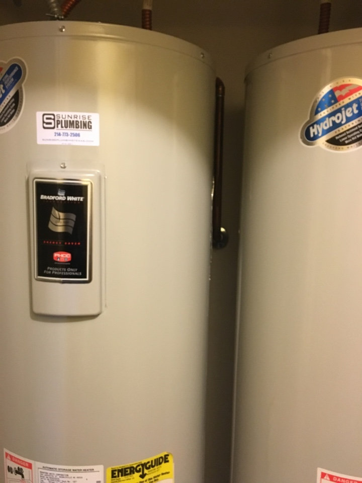 Mesquite, TX - No hot water in home. Bradford white electric water heaters, need reset. Also needs new elements installed. Reset, now operating properly. Mesquite Plumber