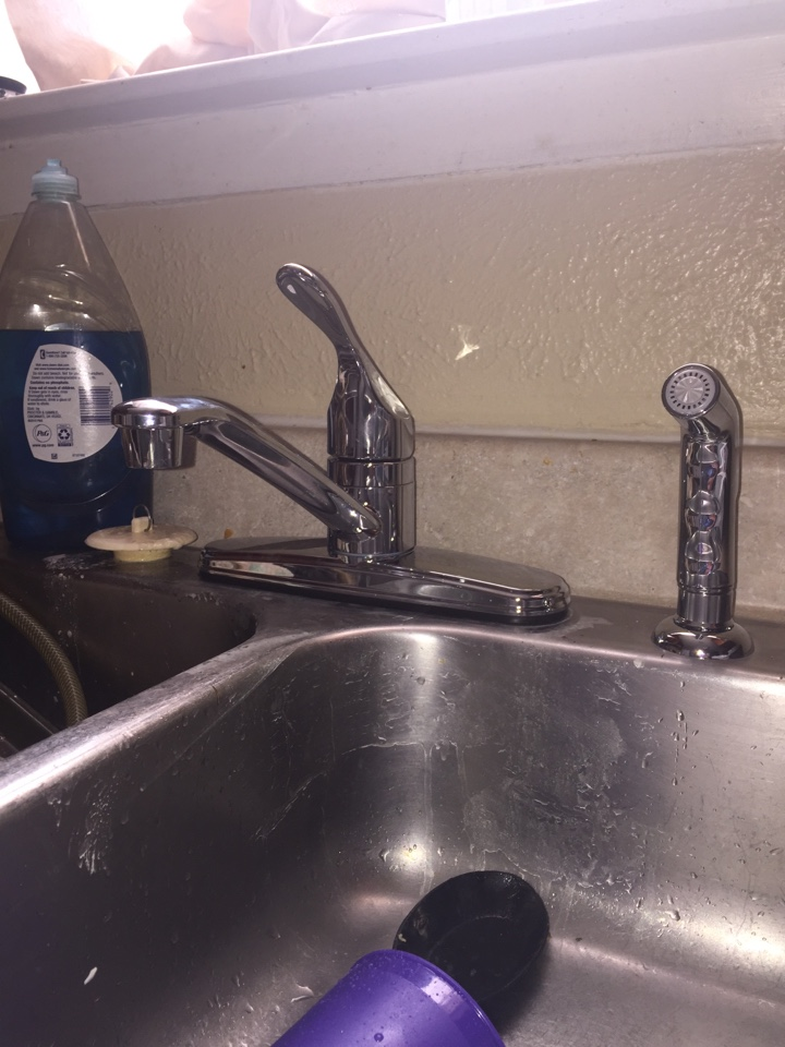Mesquite, TX - Just installed this single handle chrome kitchen faucet in place of one that was leaking from the housing. We also replaced both water shut offs inside the cabinets so water can be easily shut down. Mesquite Plumbers!