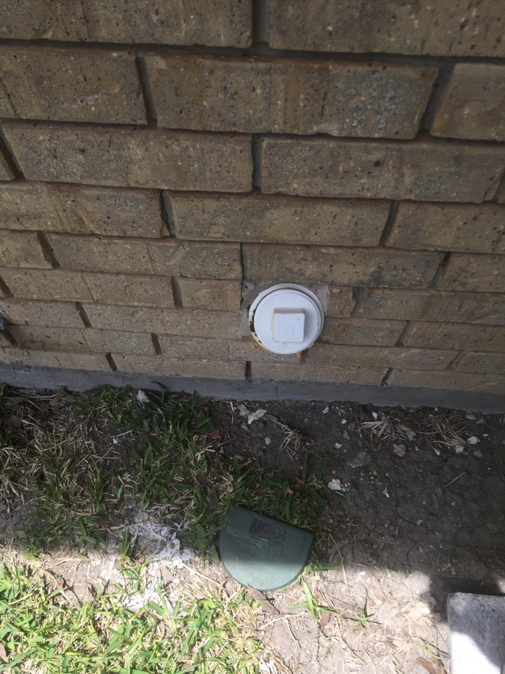 Richardson, TX - Guest bathroom bathtub and toilet are stopping up. Auger brand find stoppage through expose clean out on the left side of home.