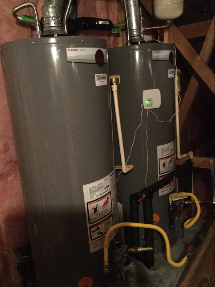 Fairview, TX - 50 gallon gas water heater's in attic or leaking need repair. Install two new 50 gallon Rheem professional water heaters with expansion tank and flood stop. Fairview plumbers