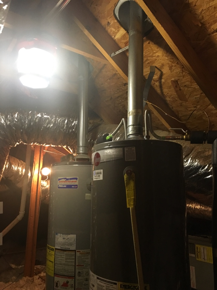 Garland, TX - 50 gallon gas water heater in attic is leaking need repair. Install new 50 gallon gas water heater in attic. Garland plumbers