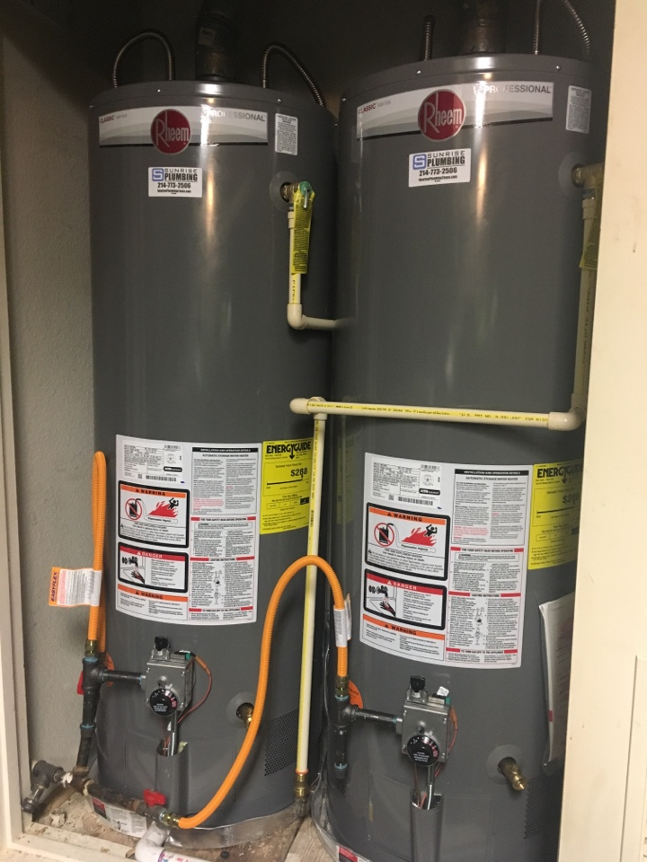 McKinney, TX - GE gas water heaters 10 years old, needs replacement. Install 2 new Rheem Professional water heaters.