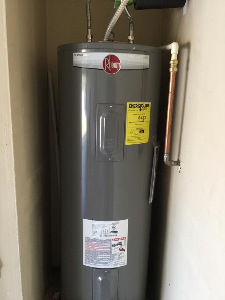 Dallas, TX - 50 gallon electric water heater in garage is not producing hot water. Need repair. Install new 50 gallon electric water heater in garage. Dallas plumbers