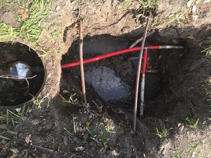 Plano, TX - Water leak near meter in yard need plumbing repair. Dig yard and make repair on yard service. Sunrise Plumbing in Plano TX
