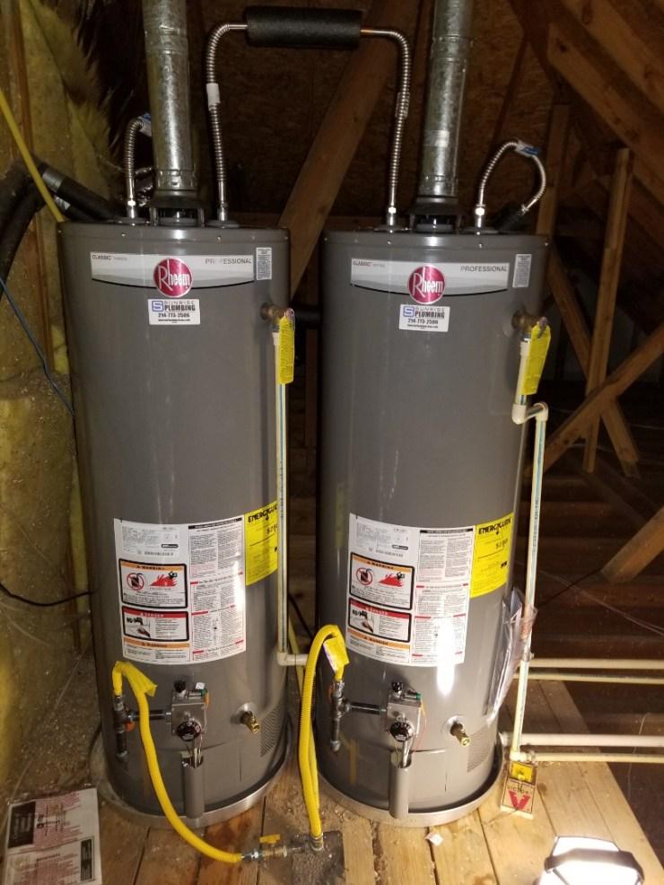 McKinney, TX - Water heater in attic is leaking. Need repair.  Install 2 new 50 gallon gas water heaters. McKinney plumbers