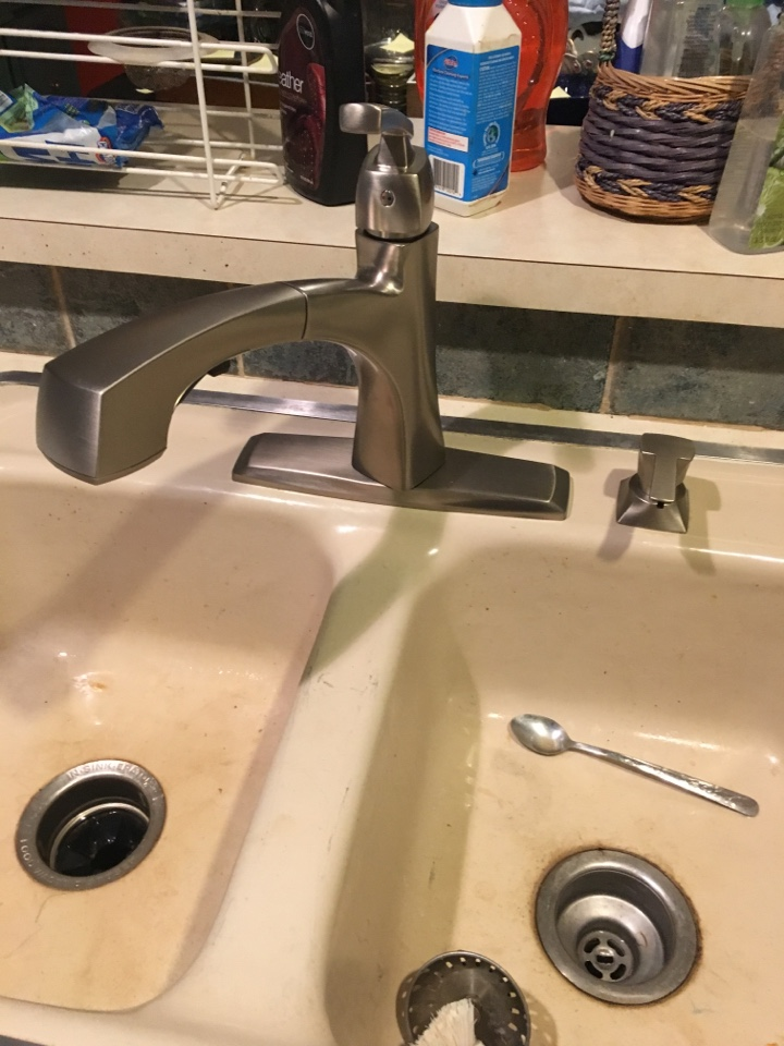 Rockwall, TX - Kitchen plumbing repair. Install client supplied kitchen faucet.