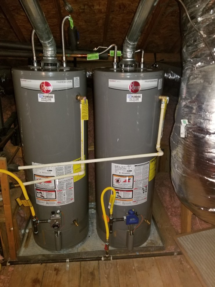 Frisco, TX - 50 gallon gas water heater in attic not producing hot water. Need repair. Install new 50 gallon gas water heater. Frisco plumbers