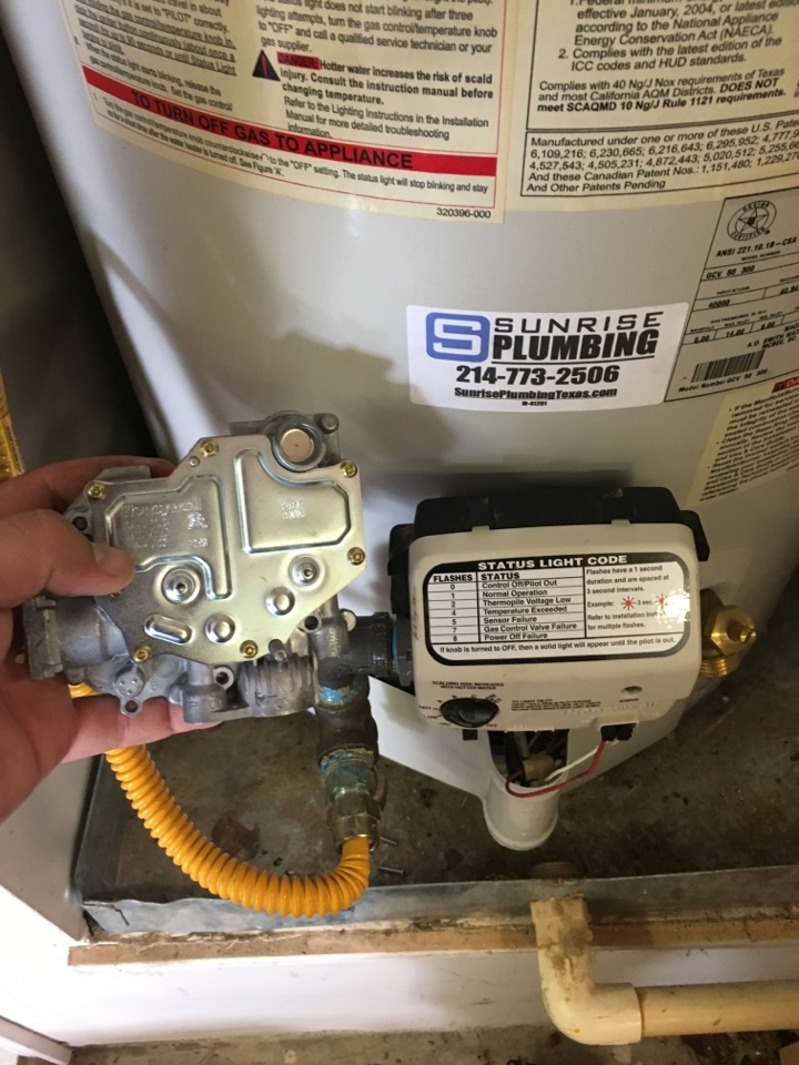 Rockwall, TX - AO Smith water heater not producing hot water.  6 years old. No hot water, water heater needs repair. Installed new Honeywell gas valve. Now water heater is operating properly.