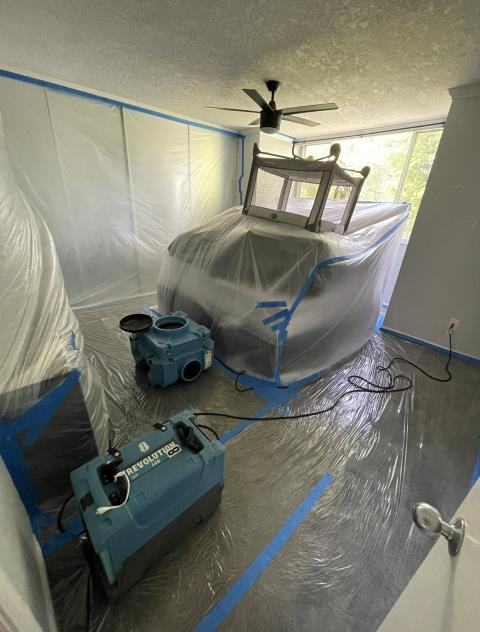 Lighthouse Point, FL - End result of mold removal by our expert team. The containment area is left completely cleaned for the post assessment test by a third party company.