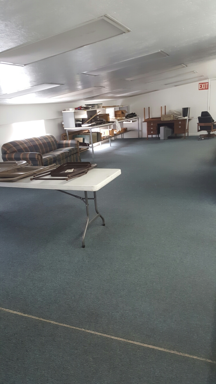 Ogden, UT - Cleaning the carpet in a loft in a warehouse in Ogden, Utah. It is the break room for a machine shop so it was extremely dirty.  I gave it a good cleaning and disinfectant and I also cleaned a sofa that was there.  It looks and smells great now.